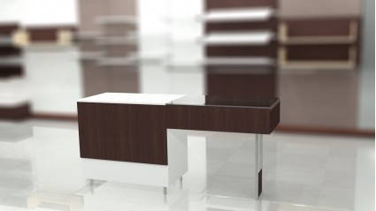 Composition 3: Closed desk with suspended showcase.