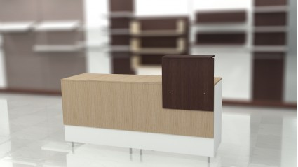 Composition 4: Closed desk with high cover and countertop.