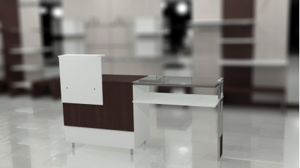 Composition 5: Closed desk with high cover and countertop, and suspended open showcase.
