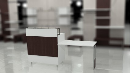 Composition 6: Closed desk with reception shelf and suspended writing desk top.